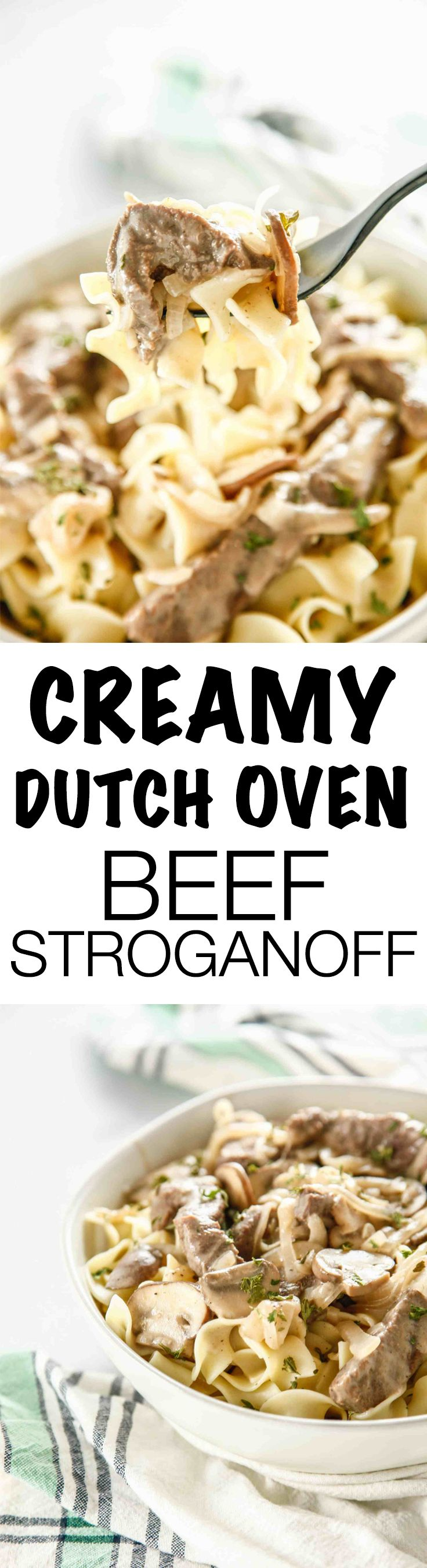Bring your comfort food game to a new level of awesome with this Creamy Dutch Oven Beef Stroganoff recipe. Creamy beef, onions and mushrooms over tender noodles will always be a family favorite!