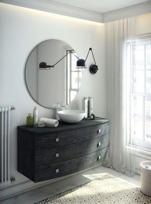 Muebles de baño personalizados, hechos a medida. PLANTEAMIENTO 1. Estancia de estilo clásico. 2. Diseño de mueble acorde . 3. Conjunto con almacenaje. SOLUCIÓN 1. Mueble estilo curvo. 2. Diseño de conjunto clásico pero actual 3. Gran capacidad de almacenaje.