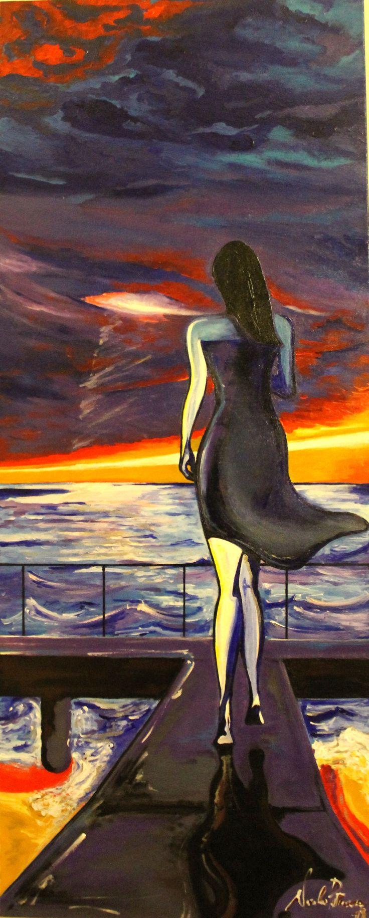 Nostalgica marea (acrilico su tela 40x100)