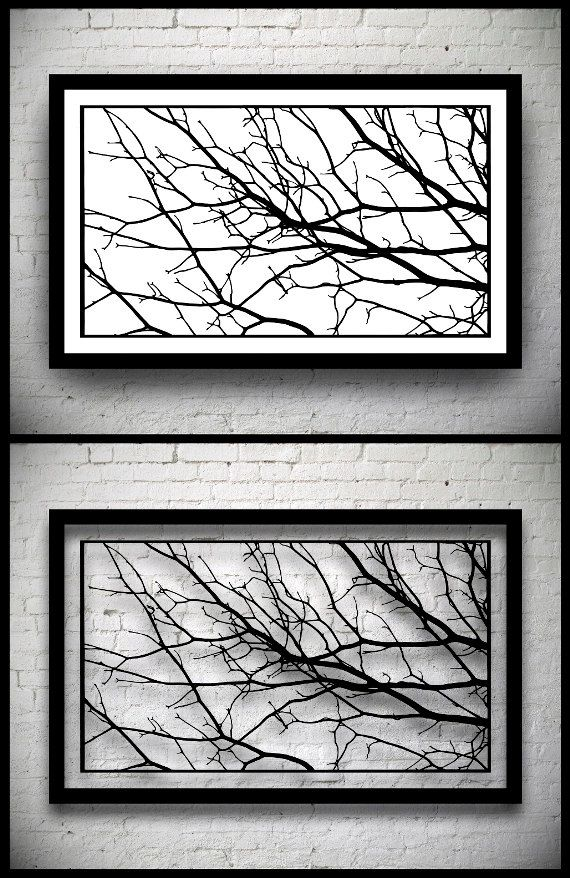 FRAMED Tree Branches Handmade Original Papercut: Hand-Cut Paper Art Silhouette - 22.24 x 12.6 inches (56.5 x 32 cm)