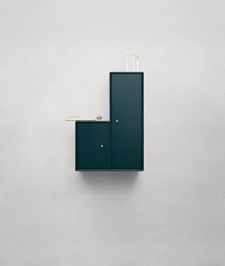 Bathroom cabinets in a deep green. Colour: Botanique. #montana #furniture #danish #design #scandinavian #style #bathroom #green
