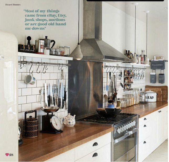 timber bench top ~ white kitchen
