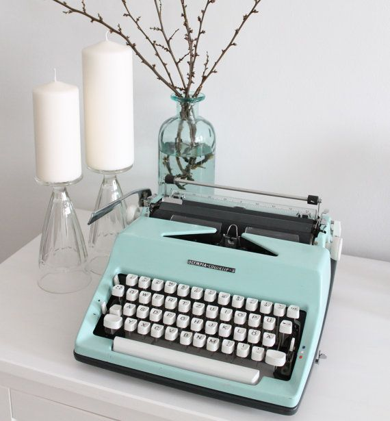 Mint Olympia Colortip S workin retro typewriter by Cottoni on Etsy
