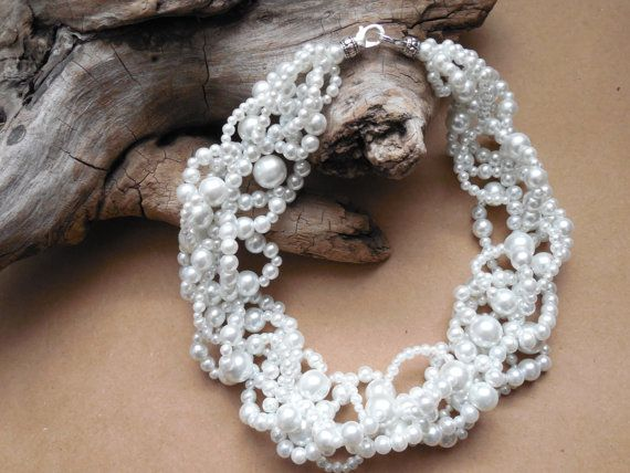 Multi strand white pearl necklace by EvenTheStones.