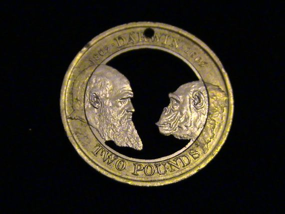 This was cut from a 2009, British, 2 pound coin to commemorate the 200 year anniversary of Charles Darwin's birth.  It is one of my very favorites.  It makes a great gift for the person that is not so insane that they think the world is just a few thousand years old. Those people scare me.
