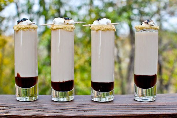 S'moretini Shooters    1/2 ounce marshmallow vodka (or vanilla, whipped cream or cake flavored vodka)  1/2 ounce Godiva chocolate liqueur  1/4 ounce Bailey's Irish Cream liqueur  3/4 ounce cream/half and half  Chocolate syrup or hot fudge  Graham cracker crumbs  Vanilla frosting for glass rimming  Mini marshmallows