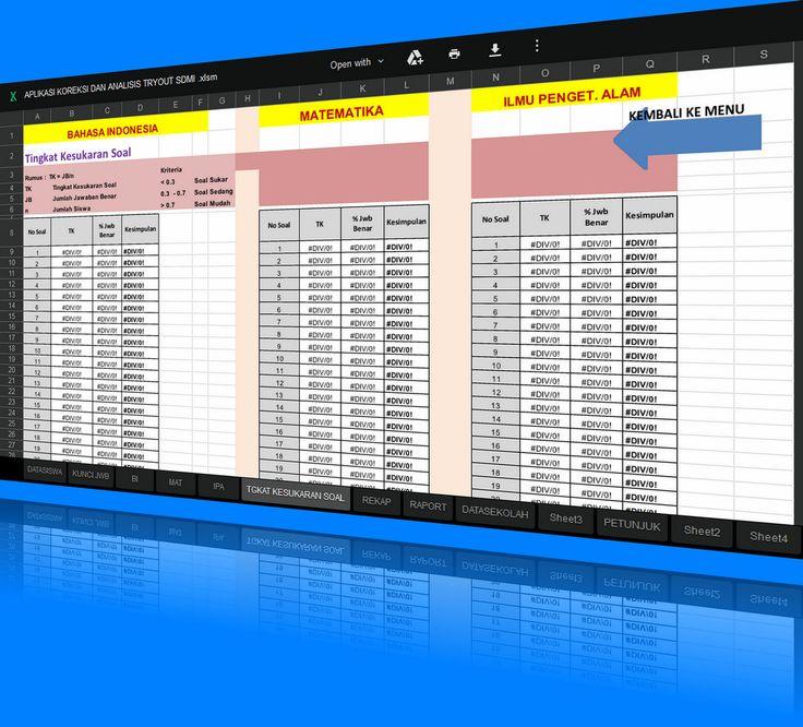 Download Aplikasi Analisis dan Koreksi Nilai Ujian Try Out SD dan MI 2015-2016 dengan Excel