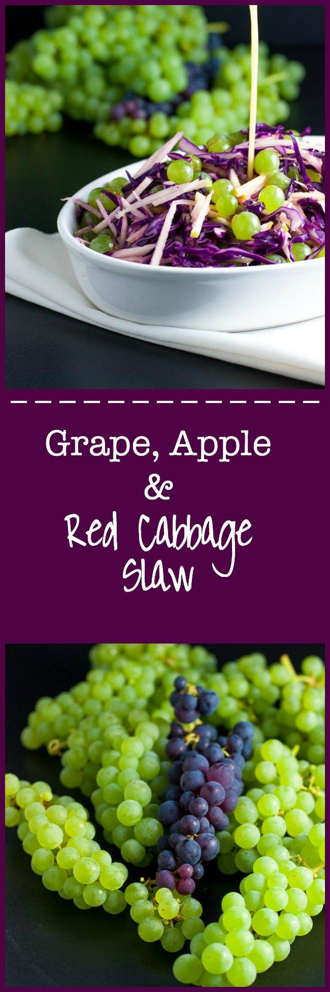 Grape, Apple and Red Cabbage Slaw. A paleo side dish, full of Vitamin C! It's crunchy, tart and sweet, all at the same time and it's dressed with a light apple cider and honey vinaigrette that adds just the touch of sweetness needed to perfectly balance the flavours. |www.flavourandsavour.com