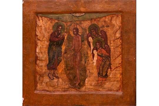 "Ikone, Russland, um 1900, ""Johannes der Täufer"", 38,7x41,5 cm, 570/144/42"