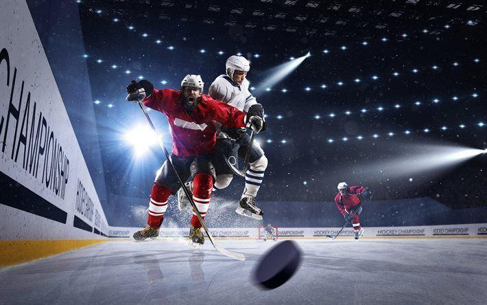 Scarica sfondi hockey, gli uomini, i giocatori di hockey su ghiaccio, hockey arena