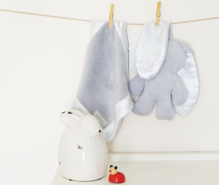 Lily and Jack Snuggle Blankie and Bunny - Grey with White Trim