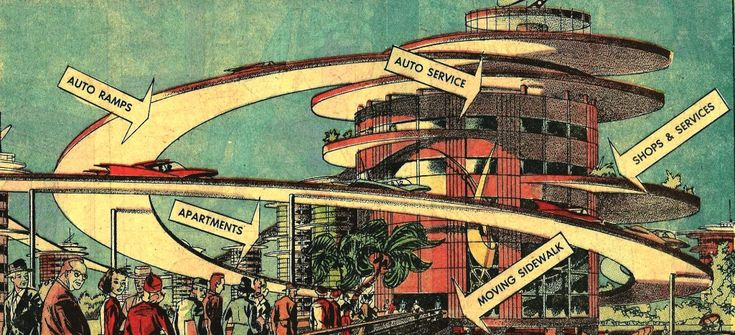 Geoffrey Jellicoe, Motopia, A Study in the Evolution of Urban Landscape, 1961. Illustrated in 1960 by Arthur Radebaugh for 'Closer Than We Think'. © Tribune Content Agency, LLC. All Rights Reserved. Reprinted with permission.
