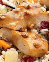 Maple-Bourbon Pecan Chicken - a knock-off of Lean Cuisine's Pecan Chicken. I think I'll try this recipe, but I'll add some apples too like LC does