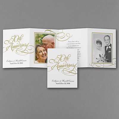 28 best 50th anniversary invitations images on pinterest 50th this four panel anniversary invitation features two photos your wording and swirls of gold stopboris Gallery