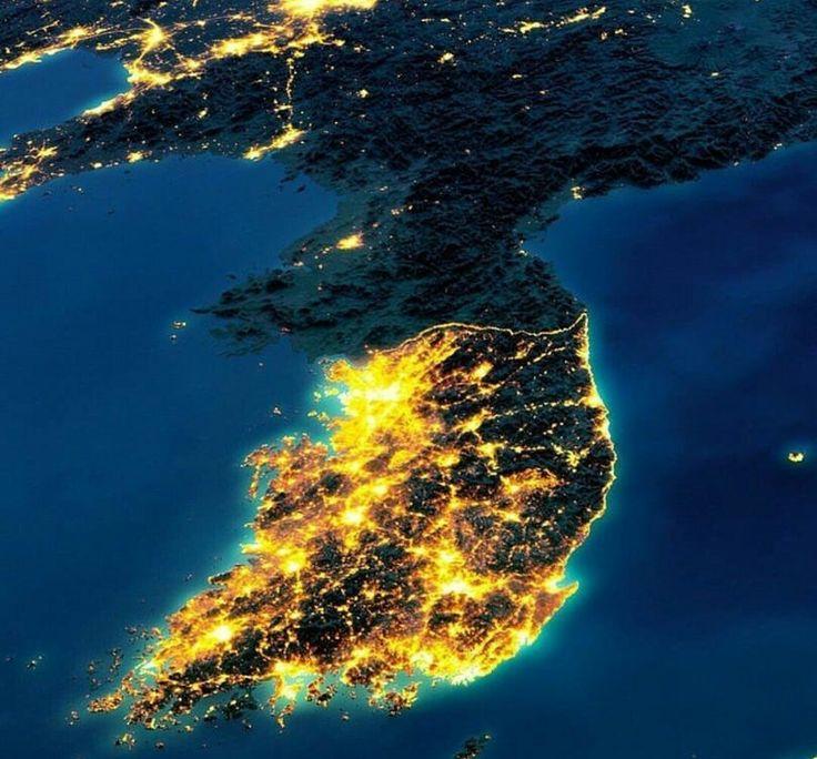Fotografía satelital de las Coreas
