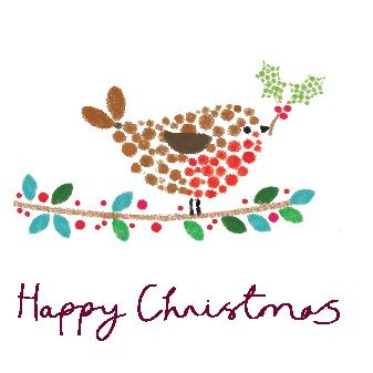 """Robin. 121 x 121mm. £3.00. All cards come in packs of 10.  Greeting in cards: """"With Best Wishes for Christmas and the New Year."""""""
