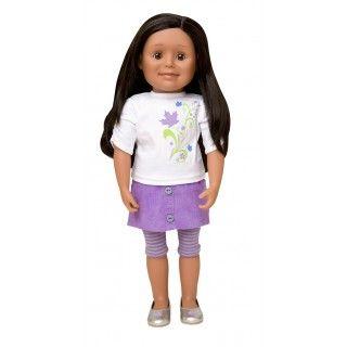Maplelea Friend with long layered dark brown hair, medium skin and brown eyes