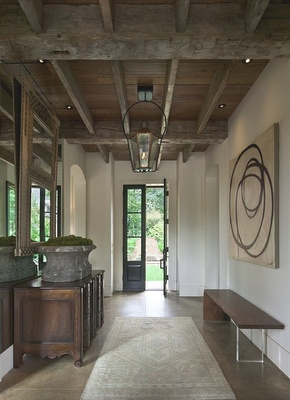Mix of stone, beams, modern and antique items.  Gwen Driscoll.