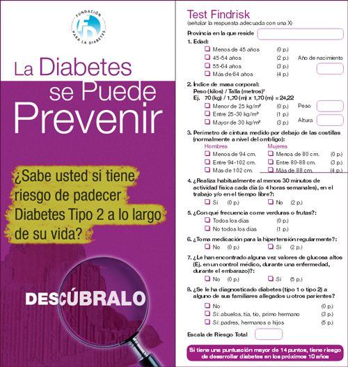 """""""La Diabetes se Puede Prevenir """" - Tríptico con test findrisk para conocer el riesgo de padecer diabetes tipo 2 en un futuro. Campaña de sensibilización ciudadana para prevenir la diabetes y la obesidad en España."""