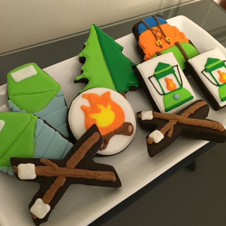 Camping Cookie Set by ASweetMorselCo on Etsy https://www.etsy.com/listing/266220428/camping-cookie-set
