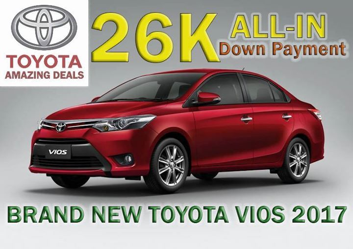 TOYOTA RAINY DAY SEASON PROMO IS HERE! Drive home a brand new 2017 Toyota VIOS for only 26k down payment all-in!  Free 3yrs LTO registration, free 1yr comprehensive insurance w/ AOG and chattel mortgage fee. No hidden charges!  OFW, BUSINESSMAN, LOCALLY EMPLOYED ARE ALL WELCOME TO APPLY!  Already have a bank approval? Apply and transfer here now!  **We also accept trade-in of any brands**  Unit: Vios 1.3E M/T Price: 762,000 15% DP: In-house Approval: 26k all-in Bank Approval: 36k all-in Monthly 5yrs: 15,984 •••••••••••••••••••••••••••• Unit: Vios 1.3E A/T Price: 812,000 15% DP: In-house Approval: 28k all-in Bank Approval: 38k all-in Monthly 5yrs: 17,032 ••••••••••••••••••••••••••••• Unit: Vios 1.3J M/T Price: 649,000 15% DP: In-house Approval: 43k all-in Bank Approval: 53k all-in Monthly 5yrs: 13,613  NOTE: Out of town charge applies for buyers with provincial residential address.  Free:  Early Warning Device Luggage Tray Toyota Black Pouch 3 Years LTO Registration 3 Years Third Party Liability 1 Year Comprehensive Insurance with AOG Chattel Mortgage Fee Tint Toyota Genuine Floor Mats Seat cover 10L of fuel Set of tools Jack Keychain Umbrella Labor for 1000 and 5000 km change oil/check up  HOW TO AVAIL THIS ALL-IN PROMO? Our FIRST STEP is fill out the online application form by clicking this link below => 👇👇👇👇http://www.emailmeform.com/builder/form/cCblUd476607.  Processing of car loan application usually takes 3-4 banking days. Once approved, that's the time we will submit the full down payment and all of the requirements.  What are the REQUIREMENTS? -2 Valid Gov't Issued IDs (Passport, SSS, Unified, TIN, Voter's, Driver's license, Postal, Police/NBI Clearance) -Latest Certificate/Contract of Employment (OFW) -Latest 3 months proof of remittance (OFW) -ITR 2316 (Locally employed) -ITR 1701 (With business/Self-Employed) -Original latest Proof of billing -12pcs. Post dated checks/Autodebit account  Avail now!  NICO PAULO C. FAUSTINO Marketing Professional TOYOTA OTIS, INC. - Paco, Manila Mobile: 0917-8570212 (Viber ready) Landline: (02) 975-9018  E-mail: nicofaustino@ymail.com #hellokitty #sanrio#biggestfan #novelty #toys #clothing