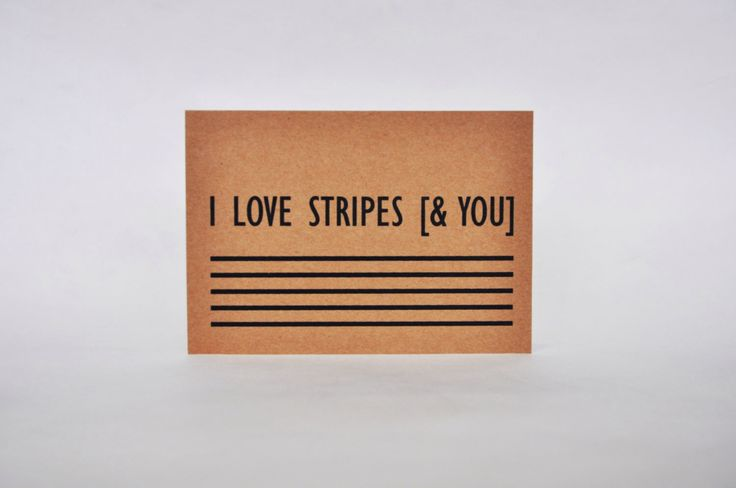 I love stripes [& you]. Kraft postcard. Recycled paper. di IntoTheTreees su Etsy https://www.etsy.com/it/listing/220650417/i-love-stripes-you-kraft-postcard