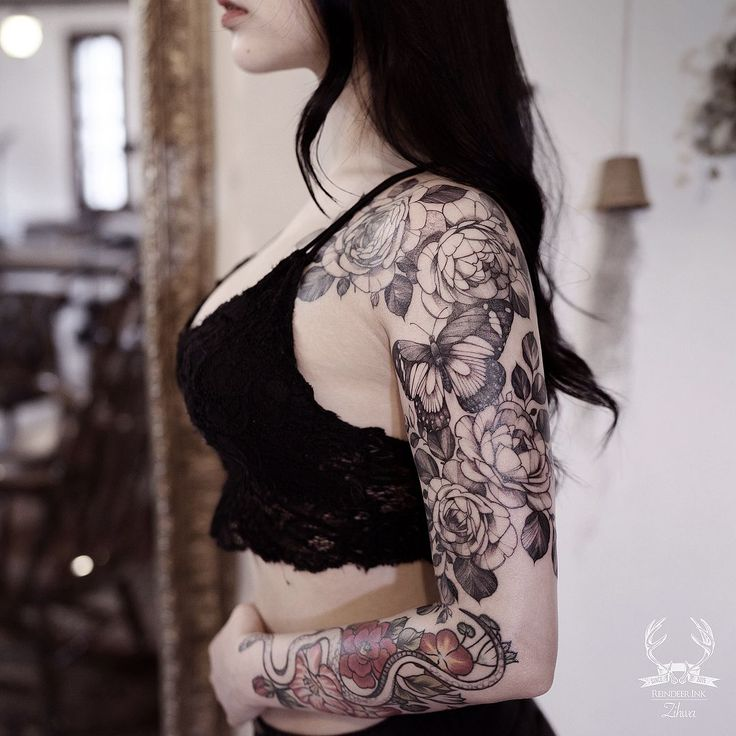 floral butterfly sleeve tattoo by @zihwa_tattooer