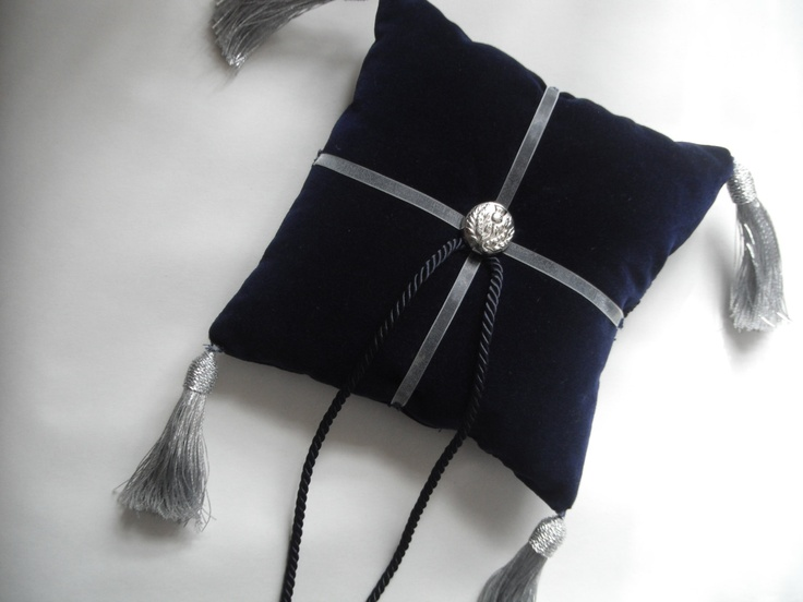 Mediaeval Inspired Navy Velvet Ring Bearer Pillow With Scottish Thistle Button. $30.00, via Etsy.