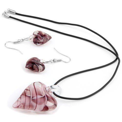Ювелирные изделия стеклянные бусины серьги ожерелье цепь фиолетовый