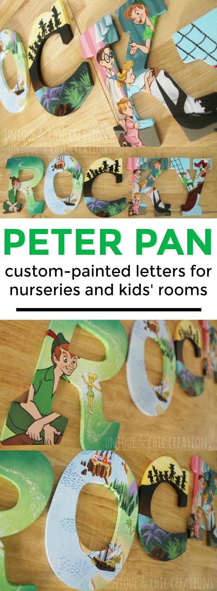 Peter Pan themed hand painted wooden letters for nurseries and kids' rooms | Unique and Chic Creations | custom wooden letters for kids' bedrooms | P.S. This shop has ALL 5-star reviews on Etsy! | affiliate link