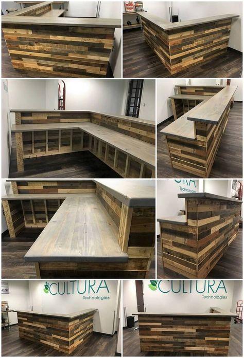 Holzpaletten L Form Schreibtisch Theke Und Bar Tisch Holzpaletten