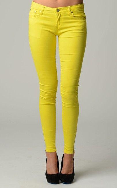Neon Pants With Ankle Side Zipper-JVJ-NEON-YELLOW-ZIP NZ$23.00 on Nzsale.co.nz