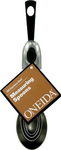 Oneida 4 Piece Measuring Spoon Set, Stainless Steel/Black by Oneida. $11.05. Perfect for every kitchen. Brushed 18/8 stainless steel. Black ABS hanging ring. Modern Look. 4 Mesurements: 1 Tbsp, 1tsp, 1/2 tsp and 1/2 tsp. Oneida's 4 Piece Measuring Spoon Set has brushed 18/8 stainless steel and 1Tbsp., 1 tsp., 1/2 tsp., and 1/4 tsp. measurements. It has a black ABS hanging ring.