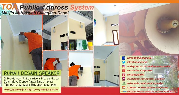 Rumah Desain Speaker Installation Public Address System, Paging System/Carr Call, Conference System and Evacuation/Emergency System. Address: Jl Proklamasi Ruko Sadewa No. 08 Sukmajaya Depok, Kode Pos 16411 Telp. 021 7782 2296, Ph. 0821 1007 4404 www.rumah-desain-speaker.com #TOA #SoundSystem #PublicAddressSystem #PagingSystem #ConferenceSystem #CCTV #Amplifier #Speaker #CorongSpeaker #HornSpeaker #SpeakerMasjid #CeilingSpeaker #WallSpeaker #BoxSpeaker #ProSoundSpeaker #Microphone…