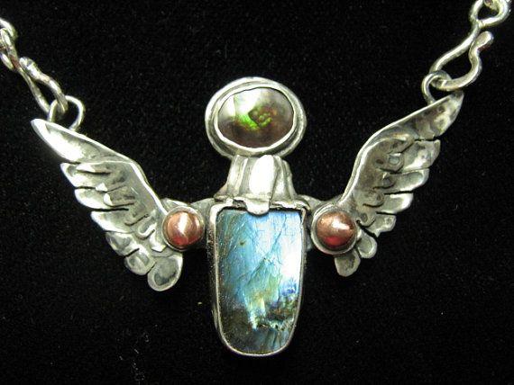 Sterling Silver Labradorite Winged Deva Necklace by CreativeEddy, $365.00