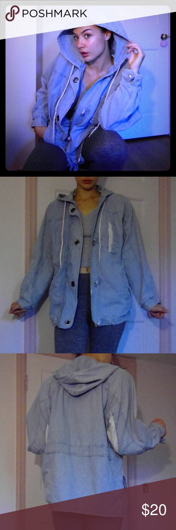 Light Blue Oversized Denim Zip Up Jacket Has a very cute, nautical vibe. The pockets and underarms of this jacket is a light blue and white pinstripe pattern. Hood with drawstrings. Lined with a soft fleece-like material. This is definitely from the 80's but it is in good condition!! Made in Hong Kong. Let me know if you would like measurements! :) Vintage Jackets & Coats