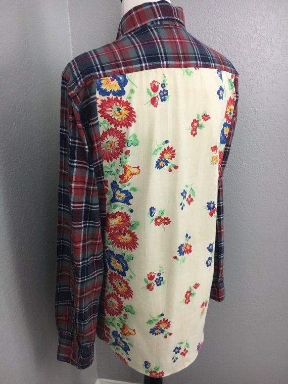 Womens Plaid Flannel Shirt Refashioned with Vintage Floral