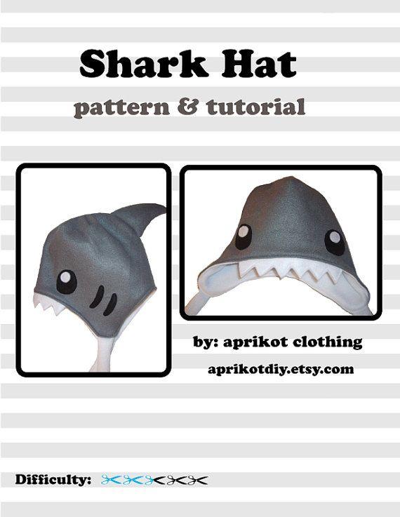 Shark Earflap Fleece Hat  PDF Pattern and full by aprikotDIY, $5.50
