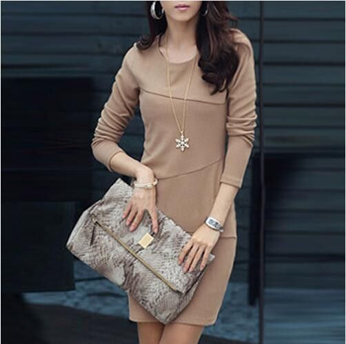 Long Sleeve Hip Dress For Ladies Work And Casual