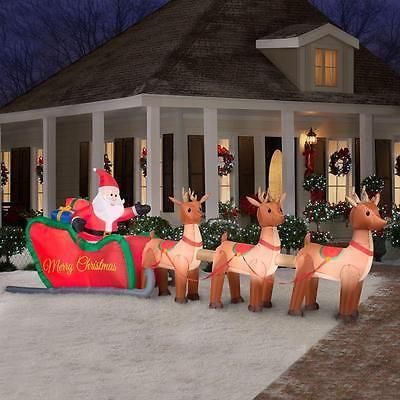 Christmas Inflatable Santa Reindeer Sleigh Outdoor Garden Yard Xmas Decoration