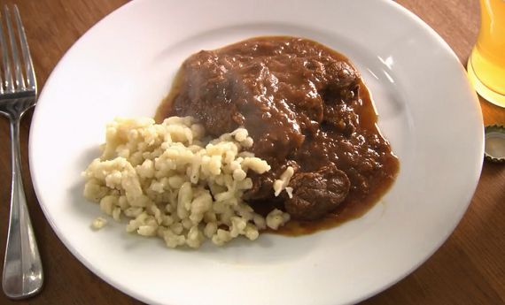 Rick Stein Viennese goulash with spaetzle pasta recipe on Rick Stein