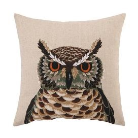 Linen-blend pillow with an owl motif.   Product: PillowConstruction Material: Linen-blend cover and feather down fillColor: MultiFeatures:  Insert includedEmbroidered Dimensions: 16 x 16Cleaning and Care: Spot clean