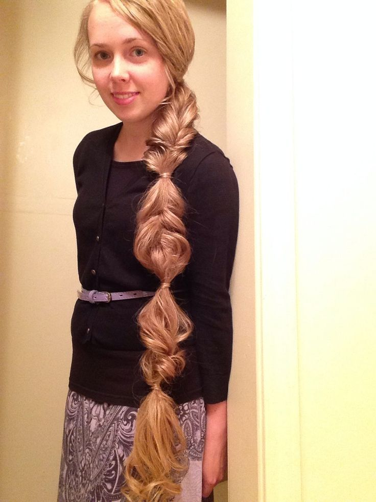"""Cute side """"ponytail"""" for girls with super long apostolic hair!"""