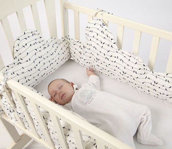 Crib/cradle Clouds bumper, baby cot bumper. Beautiful dreamy set. 100% cotton.