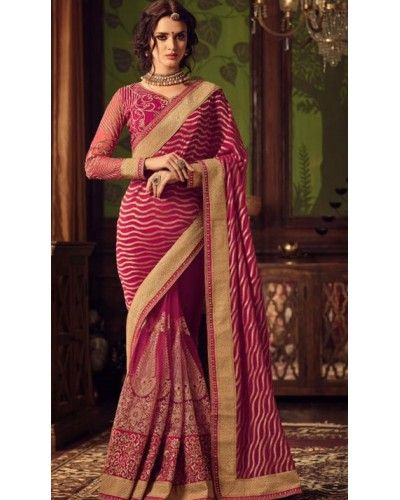 Wineberry Embroidered Saree