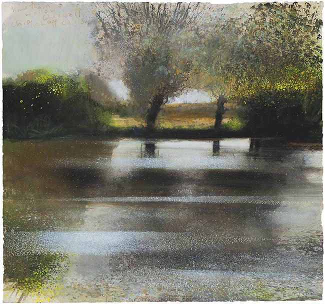 Kurt Jackson Mixed media on Paper Hawthorn and willow. Oxford, Cherwell. Chiffchaff calls. May 2010