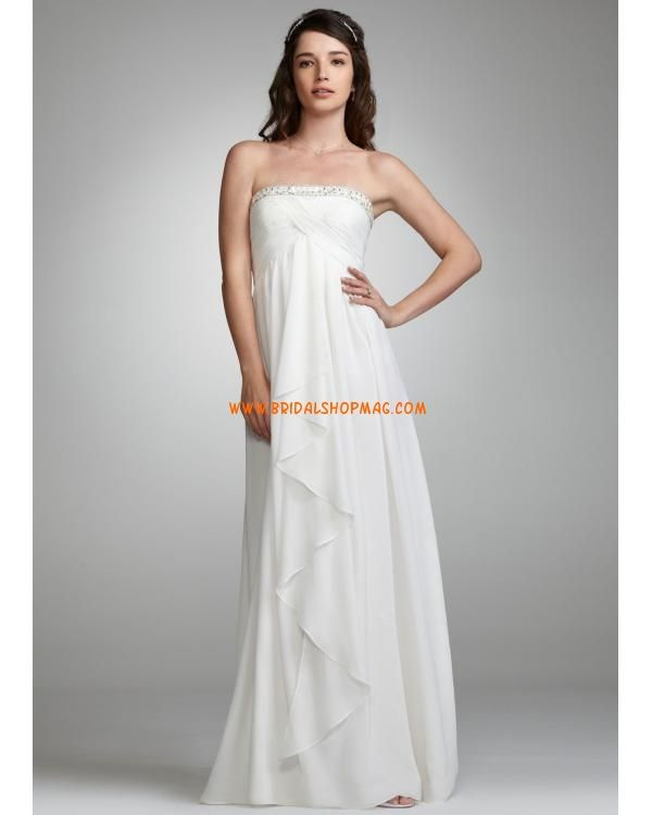 Beaded Strapless Draped Chiffon