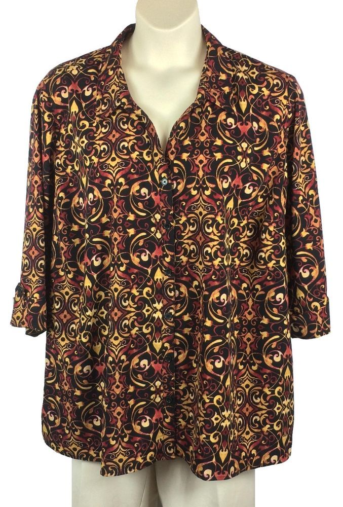 2e7e666a88e48 Womens Catherines Button-Down Blouse Plus Size 3X Multi-Color  Polyester Spandex  Catherines  Blouse  Any