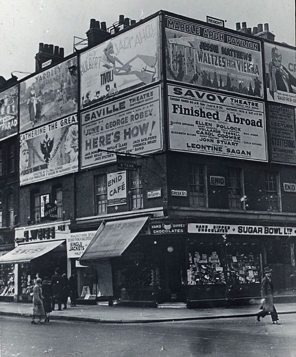Confectionery Shop, corner of Greek St and Shaftesbury Ave, c. 1930 [ London UK ]
