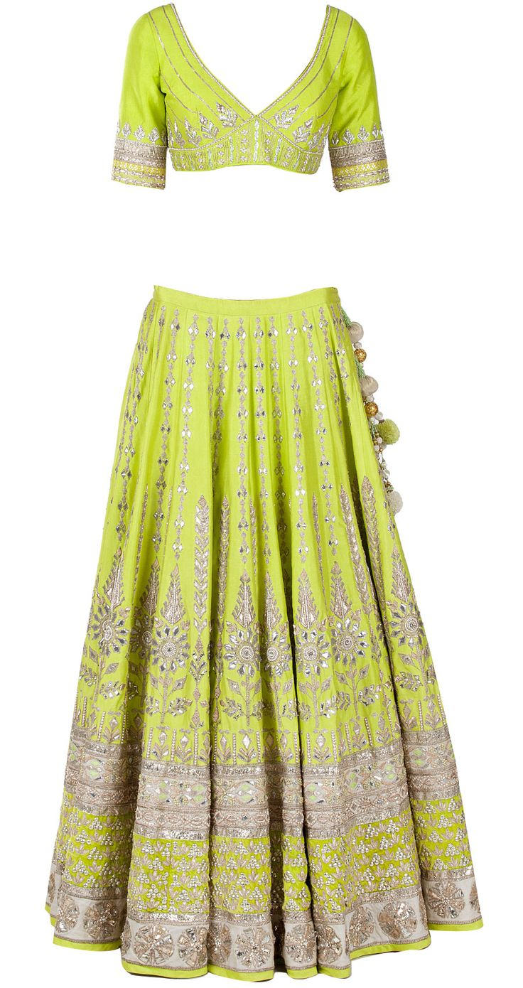Green gota pati embroidered lehenga by ANITA DONGRE. http://www.perniaspopupshop.com/whats-new/anita-dongre-green-gota-pati-embroidered-lehenga-andc1013c683.html
